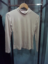 Cream High Neck Fitted Top